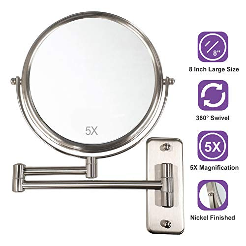 ALHAKIN Wall Mounted Makeup Mirror with 5X Magnification, 8 Inch Double Sided -