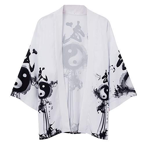 FLY FLU Haori Vintage, Kimono Giapponese Cardigan Uomo Estate New Haori Kimono Karate Streetwear Camicia Kimono Japones Uomo Haori Yukata,A-USM TagL