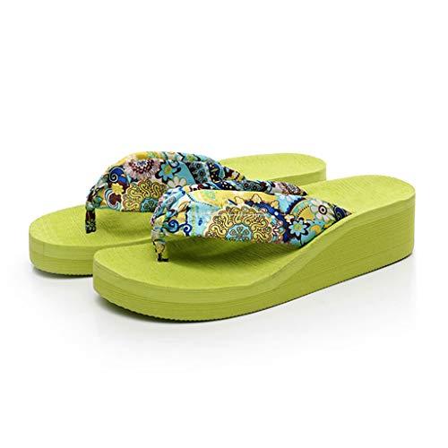 Pantofole Infradito Verde scivoloso al di Fuori del Pendio con i Sandali da Spiaggia scivolosi ai Piedi del Mare HUYP (Size : 37)