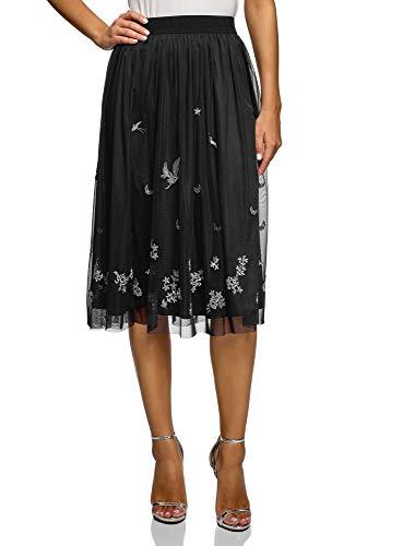 oodji Ultra Mujer Falda Midi de Tejido Fluido, Negro, ES 38