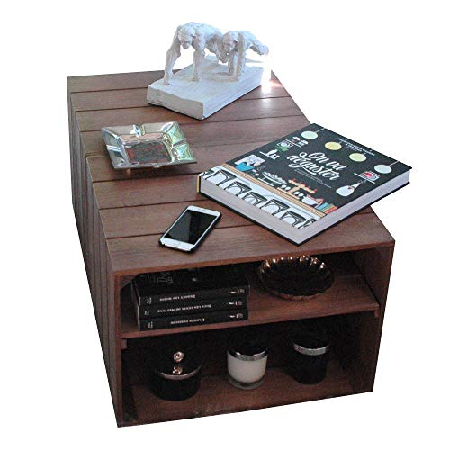LIZA Line Mesa DE Centro, 2 Compartimentos, Estilo Cajas Vintage, con Ruedas Giratorias. Madera de Pino Nórdico Macizo 51 x 83 x 40 cm (Nogal)