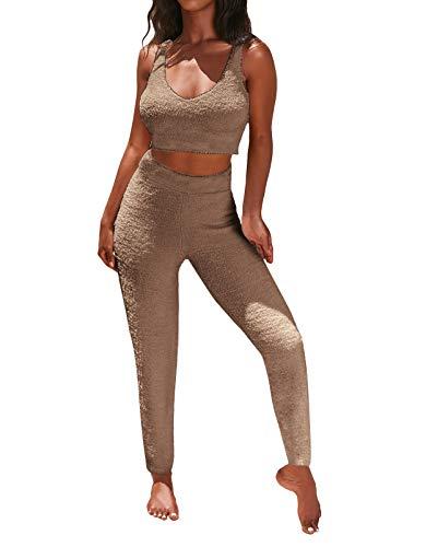 Minetom Damen Zweiteiler Plüsch Hausanzug Oberteiles Crop Top mit Langhosen elastische Homewear Freizeitanzug Sportanzug für Frauen G Khaki 42