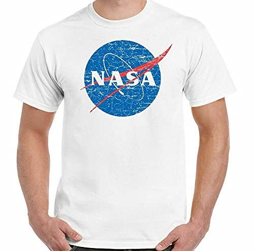 NASA Logo T-Shirt Mens Geek Nerd Big Bang Theory Retro Space Sheldon Cooper White XXL