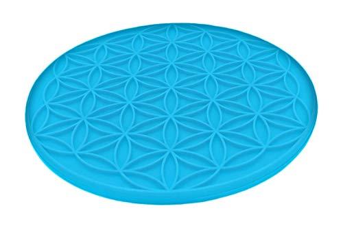 atalantes spirit Blume des Lebens Topfuntersetzer Silikon Aqua hitzebeständig - Farbe hellblau, Größe 18cm, rund, 1 Stück - Topflappen Lebensblume