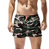 Shorts for Men F_Gotal Men's Casual Camouflage Drawstring Elastic Waist Sports Pants Training Jogger Shorts Sweatpants