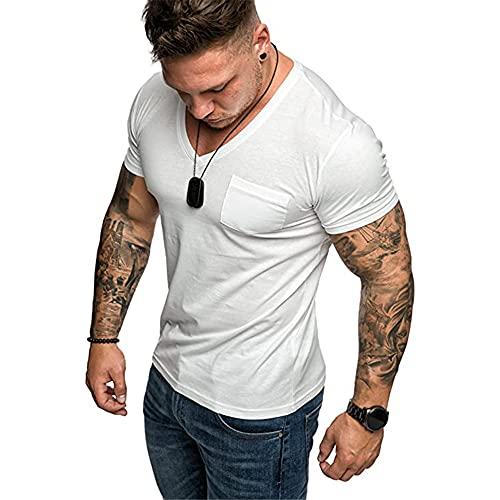 Camisa Deportiva Hombre Básica Verano con Cuello En V Manga Corta Hombre Color Sólido Camiseta Clásica Hombre Camiseta Ajustada Deportiva Hombre Shirt C-White XXL