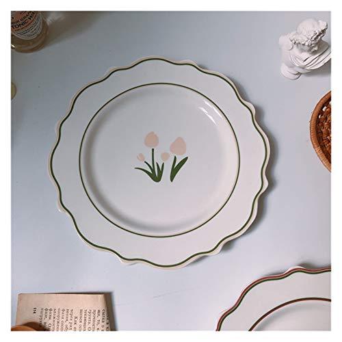 Wtuxchib Dinner Plate Tulip Ceramic Plate Vintage Flower Dessert Plate (Color : Tulip)