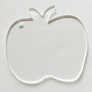 10PCS Blank Clear Acrylic Keychains Blank Apple Key Chain Christmas Tags Apple (3)