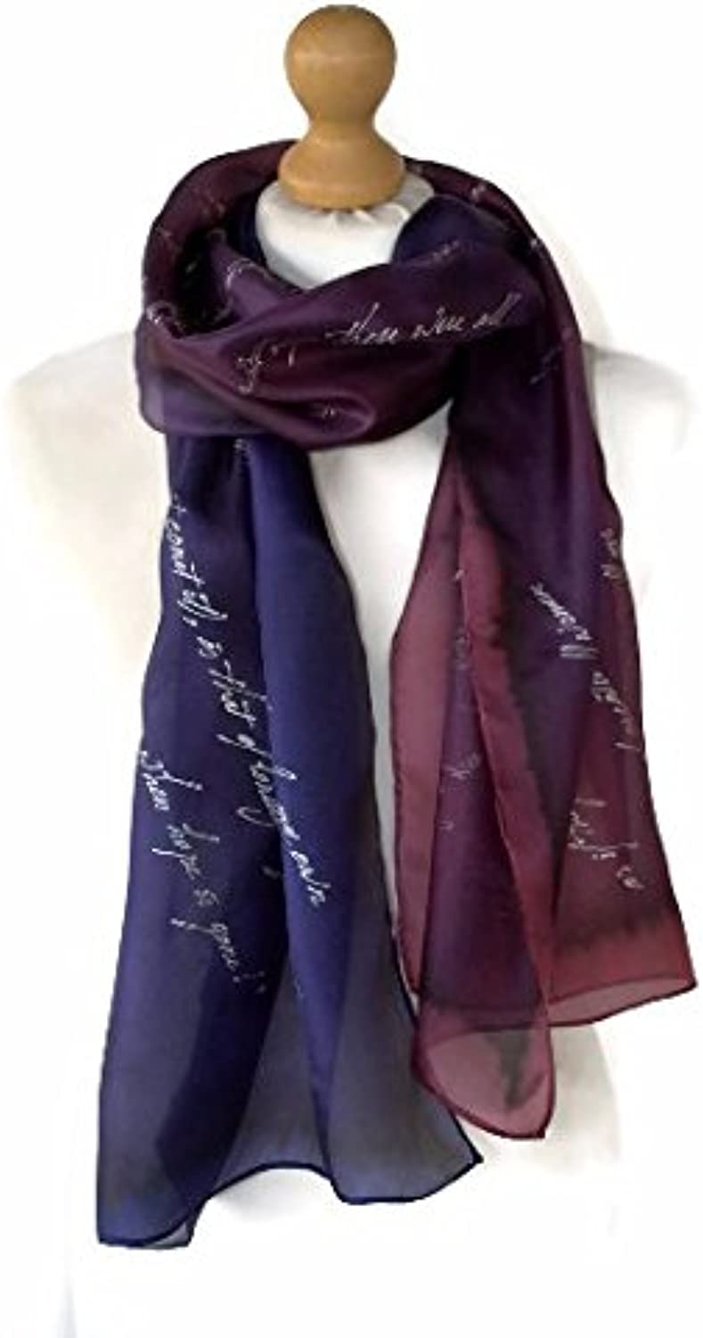 Persuasion Jane Austen Quotes Hand Painted Literary Silk Scarf