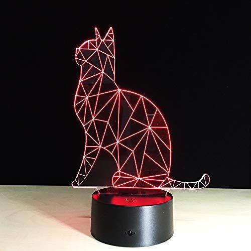 WangZJ 3D Illusion Nachttischlampe/süße Katze/Sydney Opera House/Frosch/Stiefel/Elf / 7-farbiges Licht für Mädchen/beleuchtende Kinderlampe/ABS-Sockel Nette Katze