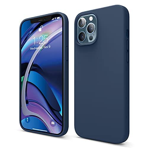 """Elago Silicone Liquido Custodia Cover Compatibile con iPhone 12 PRO MAX SOLO (6.7""""), Silicone Liquido Premium, Protezione Full Body : Case Antiurto 3 Strati (Blu Scuro)"""