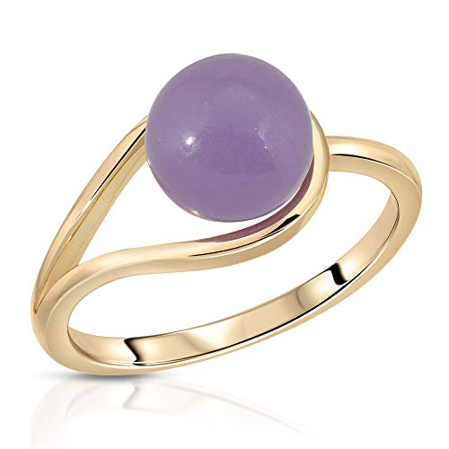 Regalia by Ulti Ramos 8mm Real Jade Bead Ring in Lavender Color Set in Sterling Silver Size 7 (Gold-Plated-Silver)
