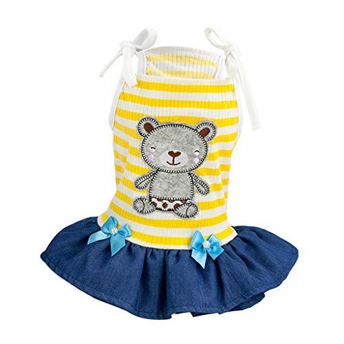 PETSOLA Hundekleid Prinzessin Kleid Hundekleidung mit Bär Muster für Hochzeit Festival - Gelb, L