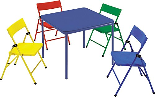Cosco 5-Piece Kid Table and Chair Set, Red/Yellow/Blue