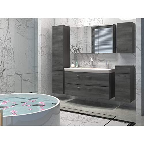 Elegantes Badezimmer Möbelset Eiche Rauchsilber Metall-Vollauszüge mit softclose großer Waschplatz inklusive Waschbecken