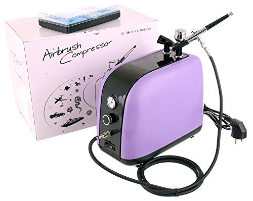 Airbrush VIOLET Dual Action Compressor 4 bar compleet met airbrushpistool 0,3 mm