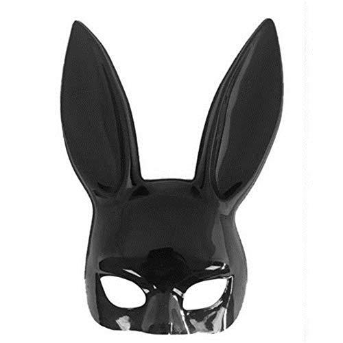 Miaouyo Hase Maske Horror Sexy Bunny Maske Rabbit Schwarz Halbmaske mit langen Ohren für Fasching Party Cosplay Kostüm Halloween Maskerade Stirnband Club (Schwarz-Glitzer, Onesize)