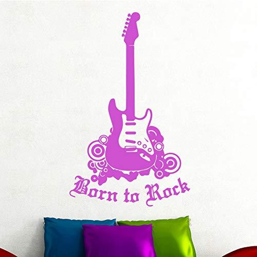 E-Gitarre DIY Wandaufkleber Wohnzimmer Jungen Schlafzimmer Hintergrund Dekorative Abnehmbare Wandaufkleber Kaffee XL 58cm X 93cm