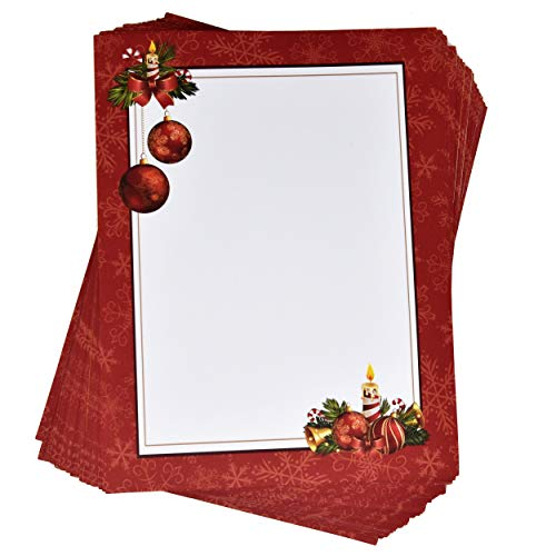 Christmas Letter Papers 100 Pack Stationery Sheets 100gsm Holiday Ornament Bells Design Perfect For Writing Poems Lyrics Letters Office Notes Wedding Invitations & Printing Supplies Size 8.5' X 11'