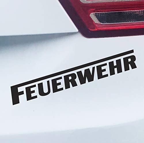 PrintAttack P058 | Auto Aufkleber Wunschfarbe Feuerwehr | langes F | Autoaufkleber | Sticker | Verschiedene Größen (Schwarz, 20cm x 3cm)