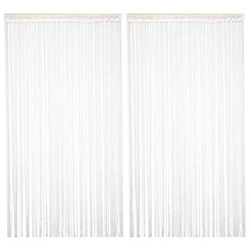 TRIXES 2PC Panel Cortina Cadena/Hilo Gotas de Rocío Blancas y Plata - 90 x 200 cm - Cortina de la Puerta - Le Ayudará a Mantener Alejadas Las Indeseadas Moscas