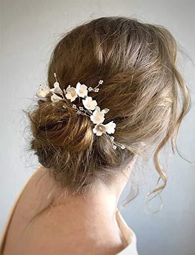 Simsly Haarnadeln für die Braut, Hochzeit, Blume, Silber, Haarspangen, Blatt, Brautschmuck, Kopfschmuck, Haar-Accessoires, Perlen für Frauen und Mädchen (4 Stück)