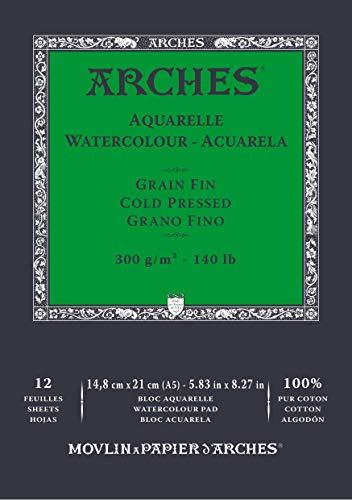 Bloc Enc 14,8x21 12H Arches Aquarelle 100% Fino 300g Blanc Nat