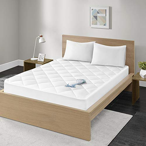 Madison Park Quiet Nights Mattress-Cover-Protector | 100% Cotton Sateen Waterproof Down Alternative Bed-Pad-Topper, Twin, White
