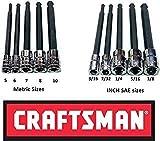 Craftsman 10 Pc 1/4 & 3/8' Sae & Mm Long Arm Ball-End Hex Key Bit Allen Set