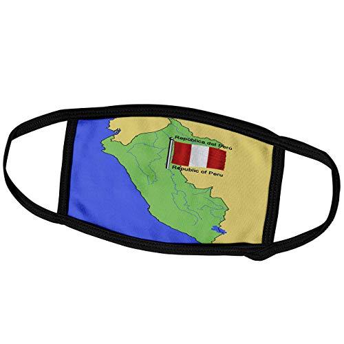 Promini Monatsmaske - Bilder Flaggen und Karten - Südamerika - Karte und Flagge Peru mit der Republik Peru gedruckt in Englisch und Spanisch - Staubmaske Outdoor Schutzmaske