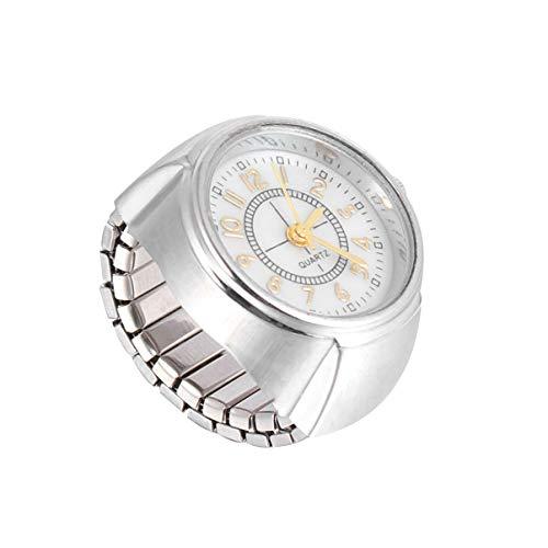 NICERIO Quarz Fingerring Uhr Kreative Schmuck Ringuhr Elastische Runde Fingeruhr für Frauen Männer