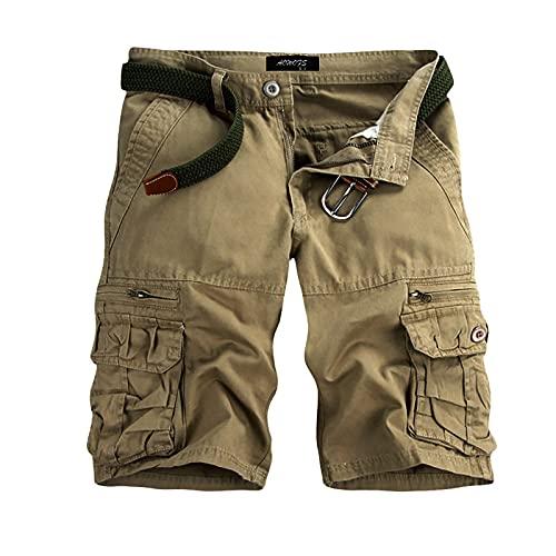 riou Pantalones Cortos Multicolores Multibolsillos de Color SóLido para Hombres, Pantalones Deportivos de Cinco Puntos para Exteriores, Pantalones Cortos de Verano para Senderismo-Alta Calidad