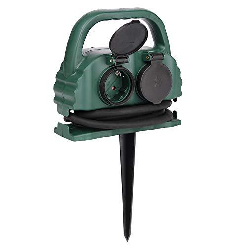4-fach Gartensteckdose IP44 mit Tragegriff und Erdspieß,wasserfeste Außensteckdose mit H07RN-F Gummi Kabel (5m,grün)