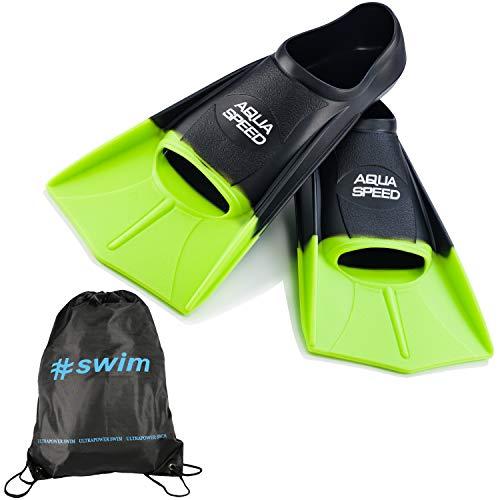 Aqua Speed kurze Trainingsflossen I Damen Herren I Profi Schwimmflossen weich für Erwachsene I Flossen Schwimmtraining I Kurzflossen Schwimmen I + Ultrapower Rucksack I schwarzIneon-grünI38; Gr. 39I40