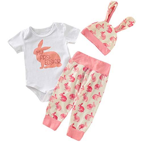 AGQT Baby Boy Girl Osterhasen Outfit Karneval Meine ersten Oster Outfits Bunny Romper + Hosen + Kaninchenohren Hut Pink 0-3 Monate