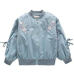 Gergeousガールズ ブルゾン 長袖ジャケット キッズジャケット スタジャン 秋 韓国ファッション ジャンパー 女の子(140グリーン)