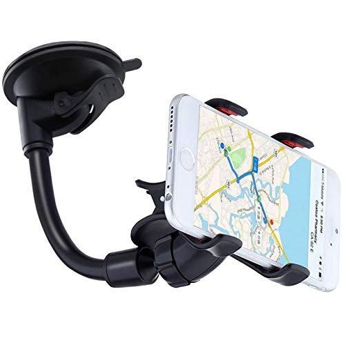 [Upgrade Version] YZtree Double Clip 360 Rotating Flexible Car Mount Cell Phone Holder Stand Car Accessories for iPhone 7, 7Plus, Samsung, LG, Nexus, HTC, Motorola, Sony & Other Smartphones, Black