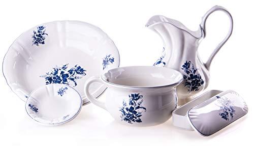 Antik 2000 Altes Waschset aus Keramik mit blauen Blumenmuster Vintage Krug, Waschschüssel, Nachttopf, Seifenschale, und Kammschale