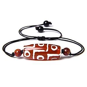 Gewebtes Armband,Schwarzes Seil Mit Ovalen Natürlichen Orange Dzi Achat Geflochtenen Verstellbaren Charm Armbänder Tibetischen Buddhismus Schmuck Vintage Lucky Friendship Geschenk Für Paare Männ