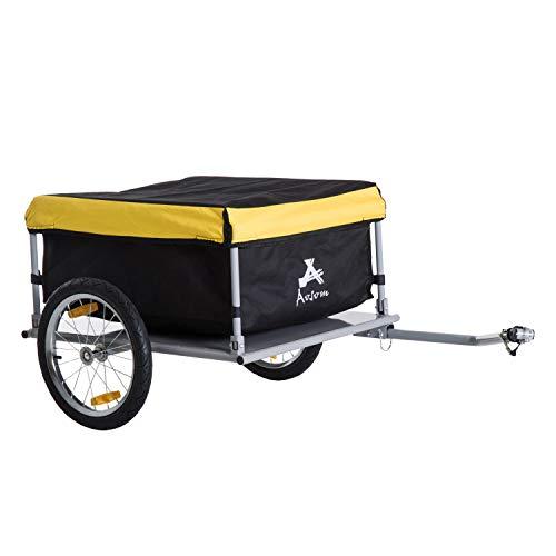 Homcom Remorque de Transport vélo Cargo Barre d'attelage Incluse Housse Amovible 4 réflecteurs...