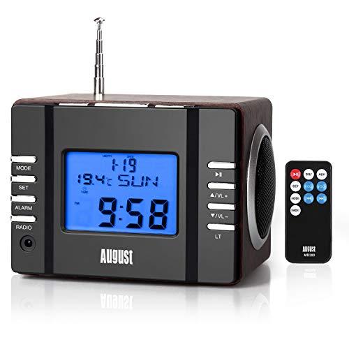 August MB300 Radio Réveil MP3 USB Numérique Radio FM MP3 SD et Jack avec Batterie Rechargeable, Secteur Thermomètre et Télécommande - Bois Marron Scandinave