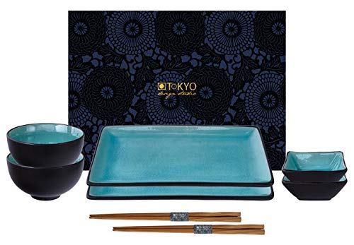 TOKYO Design Studio Service à sushi - 8 pièces pour 2 personnes - Faïence - 2 assiettes à sushi, 2 bols à sauce, 2 bols à riz et 2 baguettes - Dans une boîte cadeau