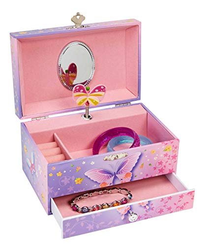 Butterfly Flower Music Jewelry Box with Pullout Drawer, Jewel Storage Case, Purple and Pink Design