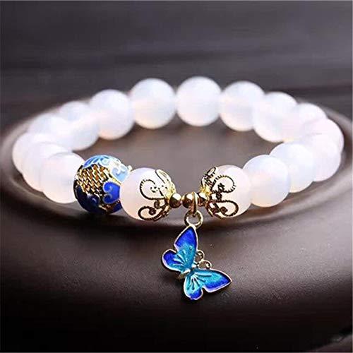 PPuujia Pulsera Un montón de cuentas de 10mm blanco pulsera de piedra natural accesorios femeninos metal mariposa colgante joyería al por mayor
