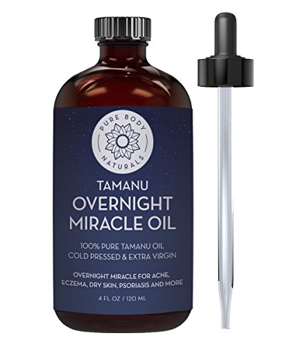 Cold Pressed Tamanu Oil for Psoriasis, Eczema, Acne Scar, Foot Fungus, Rosacea - Relief for Dry, Scaly Skin, Blisters with Bonus Info + Recipe Guide by Pure Body Naturals, 4 Fl. Ounce (Label Varies)