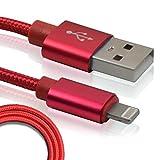 SEIKOH iPhone 充電ケーブル ライトニングケーブル ケーブル 急速充電 lightning アイフォン スマホ USBケーブル レッド 1m USB 携帯 コード LCBL100RE