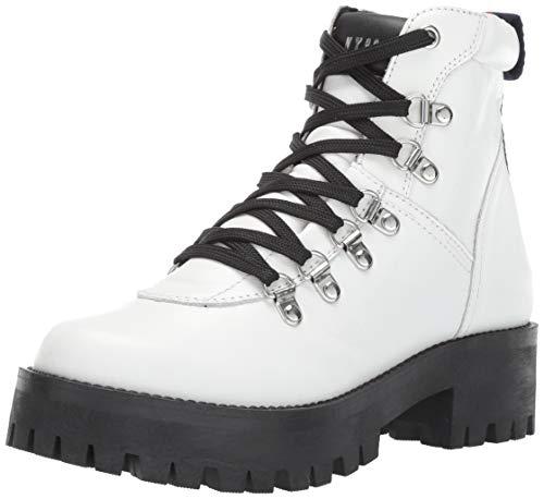 Steve Madden Women's BAM Hiking Boot, white leather, 7.5 M US