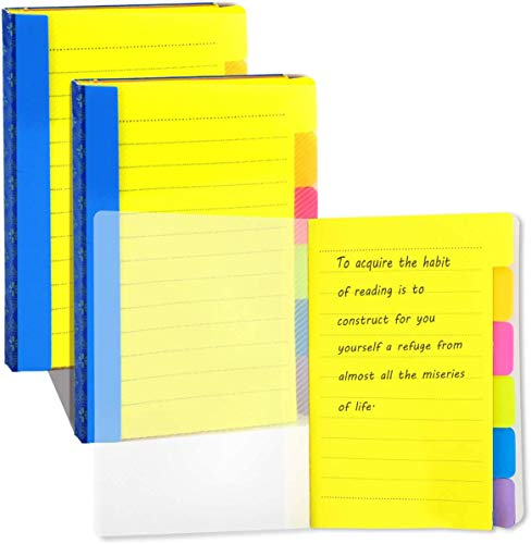 UPlama 3 Pack Divider Sticky Notes, Color Coded Index Tab Stickers Tabbed Self-Stick Lined Note Pad for School Office, 60 Ruled Notes, 4 x 6 Inches, Assorted Neon Colors