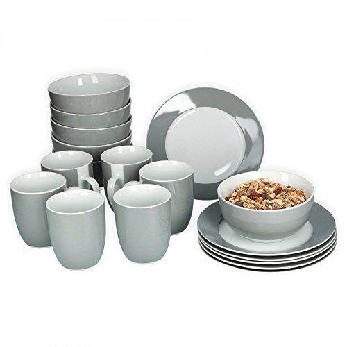 Van Well Frühstücksset 18-TLG. für 6 Personen Serie Vario Porzellan - Farbe wählbar, Farbe:grau