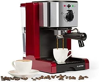 Klarstein Passionata Rossa 20 Espresso Machine • 20 Bar • Capuccino • Milk Foam • 1350W • Stylish Design for Modern Kitchens • Steam Nozzle for Frothing Milk and Preparing Hot Drinks • Red